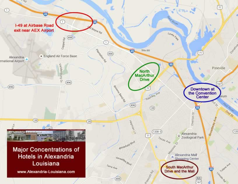 Map of Major Concentrations of Hotels in Alexandria Louisiana