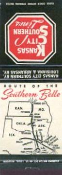 Route of the Southern Belle matchbook cover