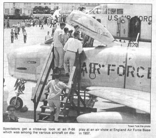 Newspaper coverage of an air show at England Air Force Base in Alexandria, Louisiana