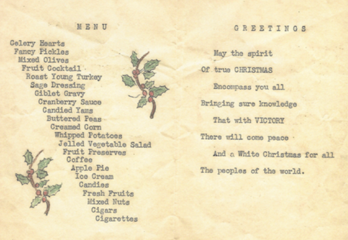 1942 Christmas Dinner Menu from the 280th Signal Pigeon Company, Camp Claiborne, Louisiana