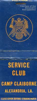 Camp Claiborne Service Club matchbook cover
