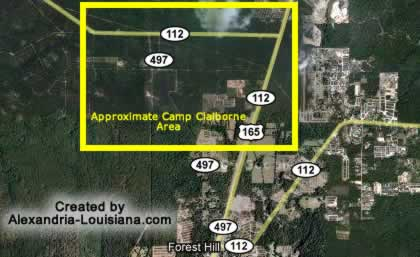 Satellite image of the Camp Claiborne Louisiana area, courtesy of Google Maps