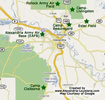 Camp claiborne louisiana wwii army camp near alexandria louisiana map showing the location of world war ii military camps in the alexandria louisiana area gumiabroncs Images