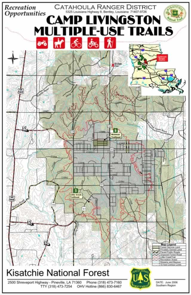 Map Of The U S Forest Service Camp Livingston Multi Use Trails