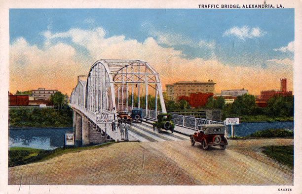 Traffic Bridge over the Red River, seen from Pineville, Louisiana, looking west towards Alexandria.